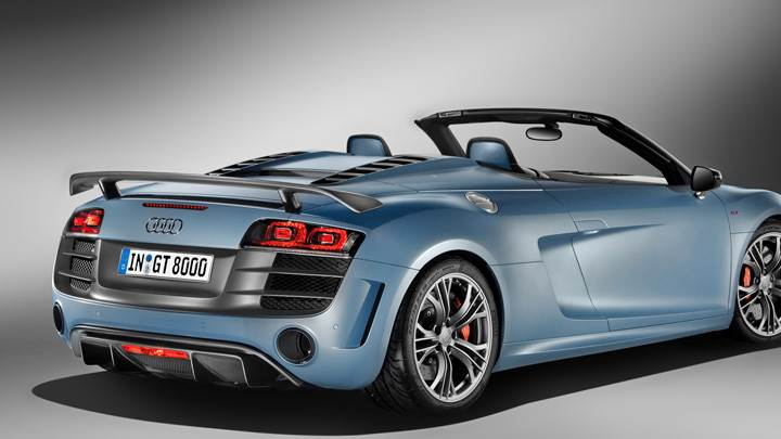 Side Back Pose Of 2011 Audi R8 GT Spyder in Blue